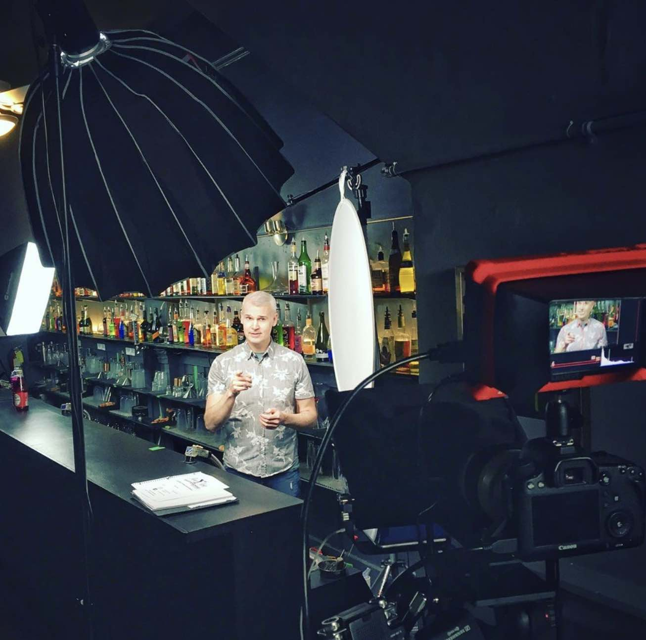 bartending instructors with camera