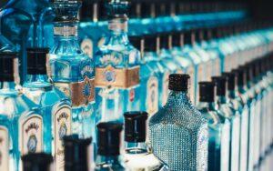 bombay sapphire gin on display